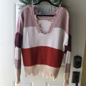 Sweaters - WOMENS DISTRESSED SWEATER